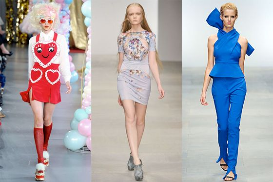From left: new spring looks from Meadham Kirchhoff, Aminaka Wilmont, and Osman Yousefzada.