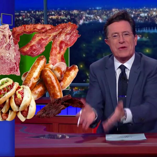 Stephen Colbert Takes on Cancer-Causing Meat and Anthony Bourdain
