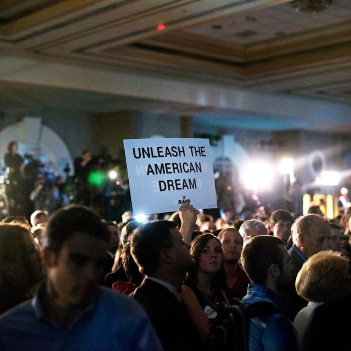 Attendees await U.S. Senator Rand Paul, a Republican from Kentucky, during during a rally to formally announce his presidential campaign at the Galt House hotel in Louisville, Kentucky, U.S., on Tuesday, April 7, 2015. Paul, 52, becomes the second Republican, and second freshman senator to join the 2016 presidential race. Photographer: Daniel Acker/Bloomberg via Getty Images