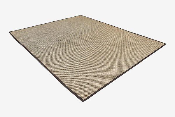 Rivet Woven Bordered Sisal Rug, 5' x 7', Charcoal
