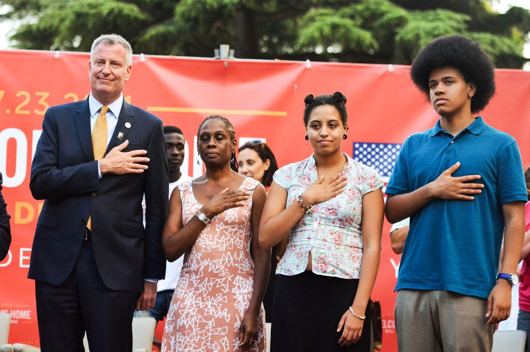 Bill de Blasio receives the honorary citizenship of Sant'Agata dei Goti, Italy.<P>Pictured: Bill de Blasio, Chirlane McCray, Chiara de Blasio and Dante de Blasio<P><B>Ref: SPL807773  230714  </B><BR/>Picture by: M. Brown / Splash News<BR/></P><P><B>Splash News and Pictures</B><BR/>Los Angeles:	310-821-2666<BR/>New York:	212-619-2666<BR/>London:	870-934-2666<BR/>photodesk@splashnews.com<BR/></P>