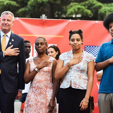 Bill de Blasio receives the honorary citizenship of Sant'Agata dei Goti, Italy.<P>Pictured: Bill de Blasio, Chirlane McCray, Chiara de Blasio and Dante de Blasio<P><B>Ref: SPL807773  230714  </B><BR/>Picture by: M. Brown / Splash News<BR/></P><P><B>Splash News and Pictures</B><BR/>Los Angeles:310-821-2666<BR/>New York:212-619-2666<BR/>London:870-934-2666<BR/>photodesk@splashnews.com<BR/></P>