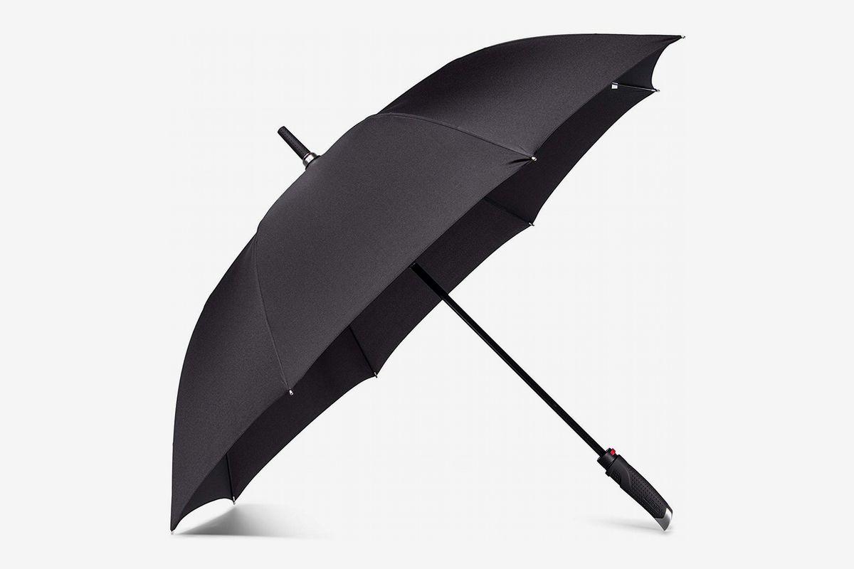 "Gents Compact Umbrella with Hook Handle ~ 35/"" Diameter Black Mens"