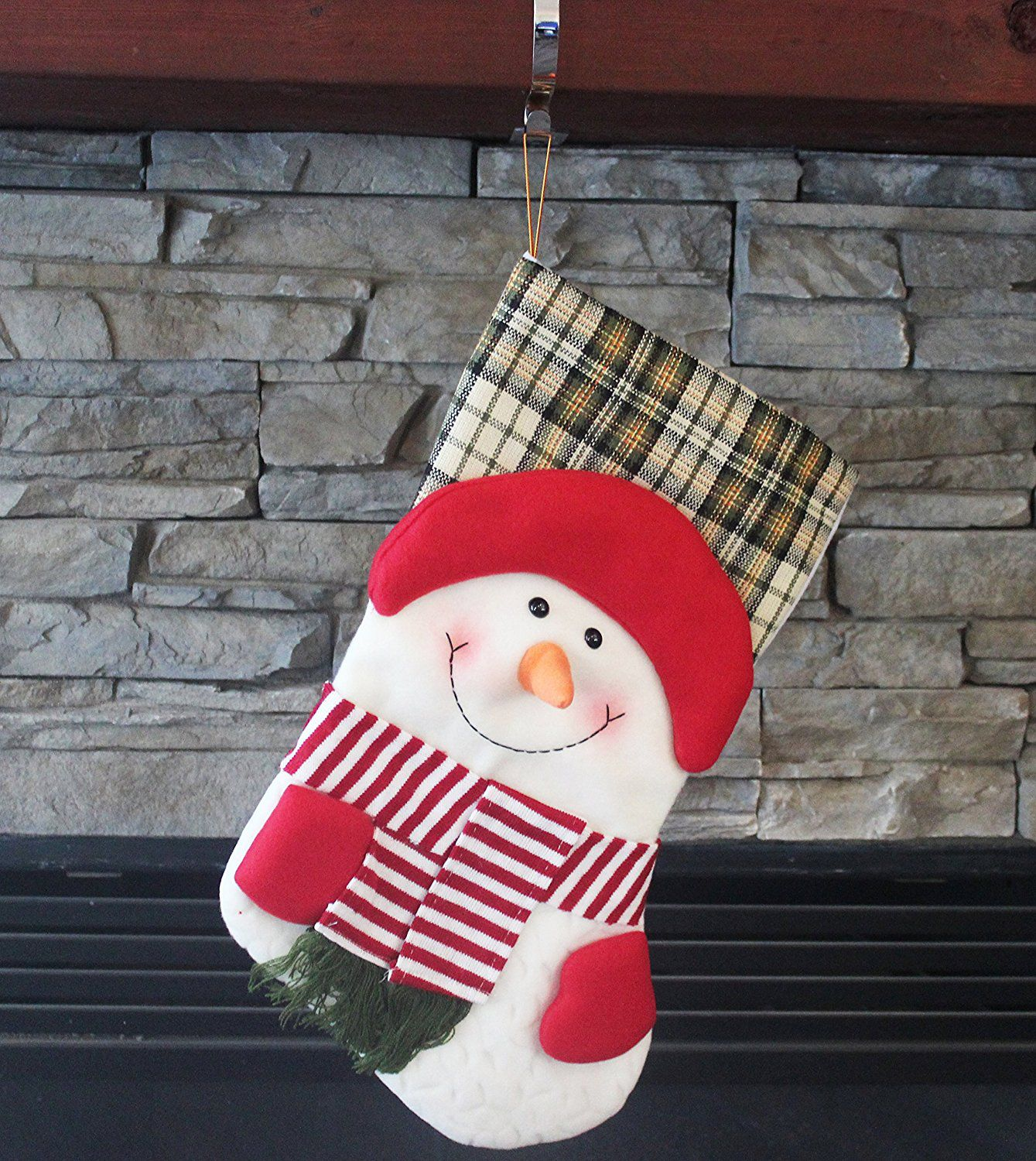 "19"" Long 3D Happy Plush Snowman Christmas Stockings"