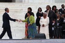 "WASHINGTON, DC - AUGUST 28:  President Barack Obama (L) greets Bernice King (C) and other King family members during a ceremony to commemorate the 50th anniversary of the March on Washington for Jobs and Freedom August 28, 2013 in Washington, DC. It was 50 years ago today that Martin Luther King, Jr. delivered his ""I Have A Dream Speech"" on the steps of the Lincoln Memorial. (Photo by Mark Wilson/Getty Images)"