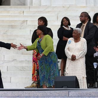 WASHINGTON, DC - AUGUST 28: President Barack Obama (L) greets Bernice King (C) and other King family members during a ceremony to commemorate the 50th anniversary of the March on Washington for Jobs and Freedom August 28, 2013 in Washington, DC. It was 50 years ago today that Martin Luther King, Jr. delivered his