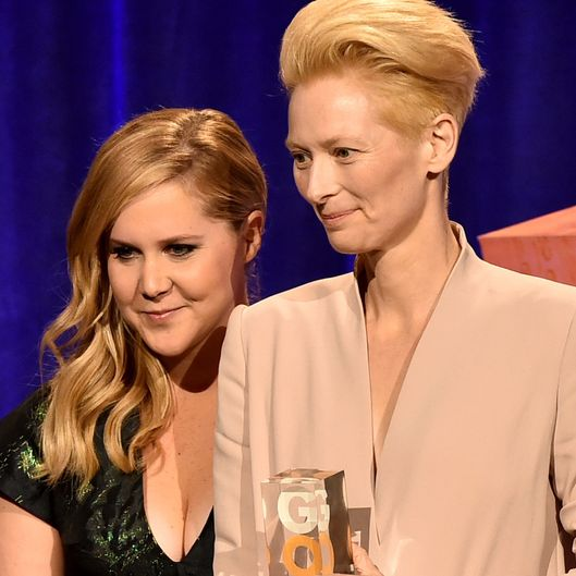 NEW YORK, NY - DECEMBER 01:  Amy Schumer (L) and Tilda Swinton attend IFP's 24th Gotham Independent Film Awards at Cipriani, Wall Street on December 1, 2014 in New York City.  (Photo by Theo Wargo/Getty Images for IFP)