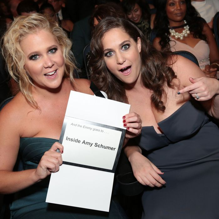 Amy Schumer with sister Kim Caramele at the Emmys.