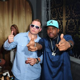 Scott Storch and Big Boi attends Big Boi Live free concert alongside his band for MySpace Live streaming at Sobe Live on August 18, 2010 in Miami Beach, Florida.