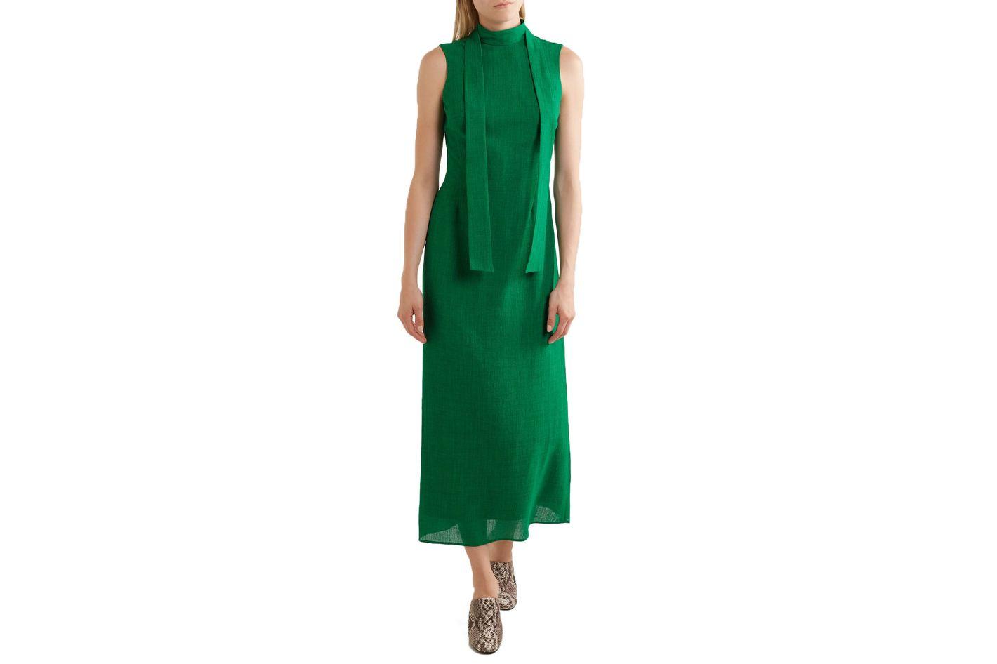 Cefinn Pussy-bow Gauze Midi Dress