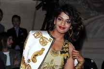 M.I.A. attends the Versace Haute-Couture show as part of Paris Fashion Week Fall / Winter 2013 at the Ritz hotel on July 1, 2012 in Paris, France.