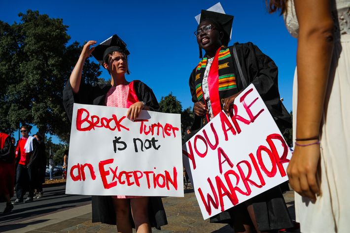 Stanford students protesting Turner's sentence at their graduation