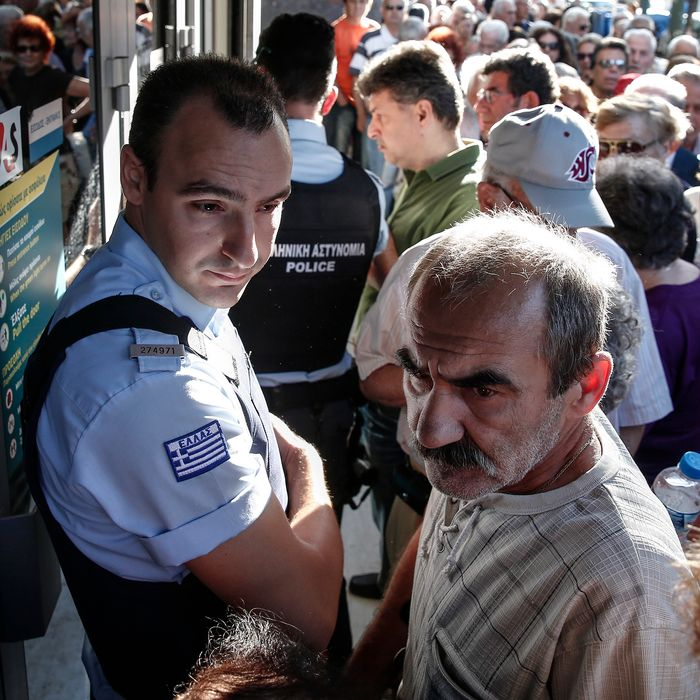 Closed Banks And Greek Pensioners As Banks Close For Fourth Day