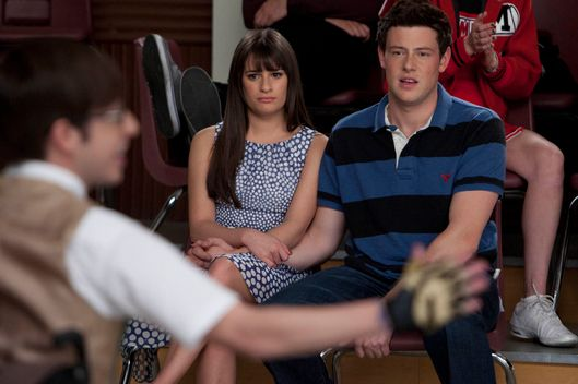 "GLEE: Rachel (Lea Michele, L) and Finn (Cory Monteith, R) watch Artie perform in ""Big Brother""; the Spring Premiere episode of GLEE airing Tuesday, April 10 (8:00-9:00 PM ET/PT) on FOX."