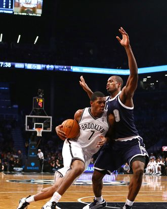 Joe Johnson #7 of the Brooklyn Nets drives against Serge Ibaka #9 of the Oklahoma City Thunder during their game at the Barclays Center on December 4, 2012 in the Brooklyn borough of New York City.
