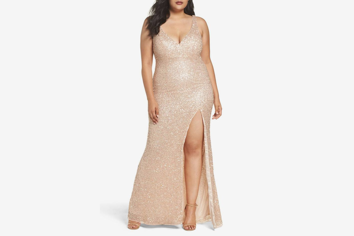 MAC DUGGAL Front Slit Sequin Gown