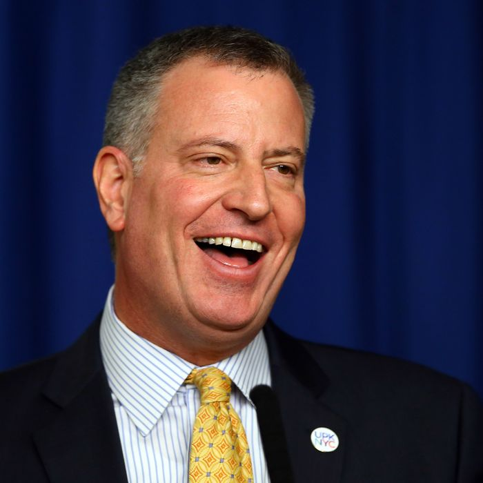 NEW YORK, NY - MARCH 31: New York Mayor Bill de Blasio answers questions during a press conference before Opening Day on March 31, 2014 at Citi Field in the Flushing neighborhood of the Queens borough of New York City. (Photo by Elsa/Getty Images)