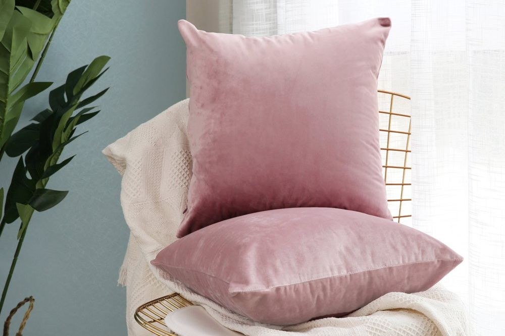 MIULEE Pack of 2, Velvet Soft Solid Decorative Square Throw-Pillow Covers