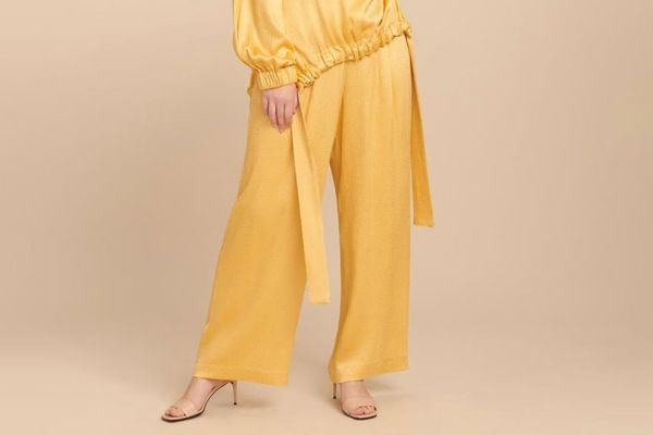 Sally LaPointe Smocked Satin Wide Leg Track Pant