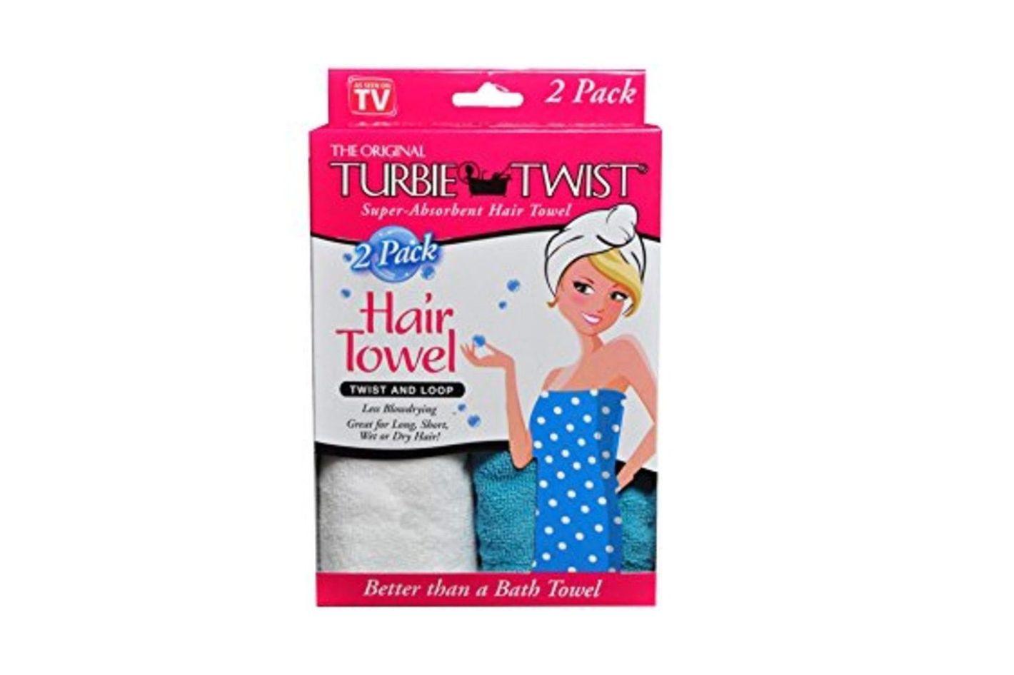 Turbie Twist Microfiber Super Absorbent Hair Towel (2 Pack)