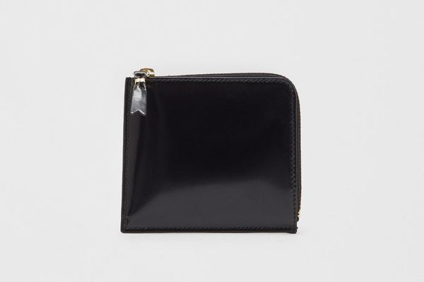 Comme des Garçons Half Zip Wallet, Black/Gold