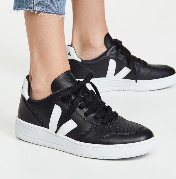 Veja V-10 Sneakers — Black/White