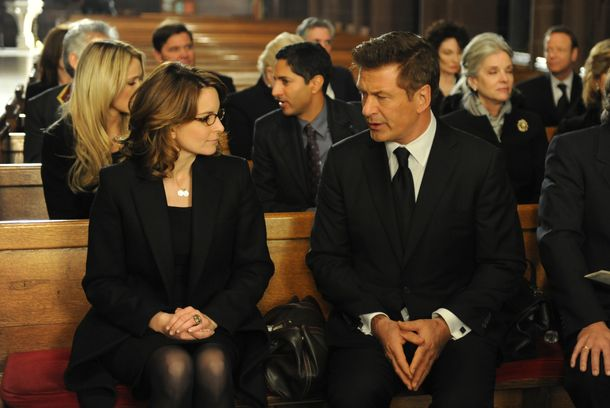 "30 ROCK -- ""My Whole Life is Thunder"" Episode 708 -- Pictured: (l-r) Tina Fey as Liz Lemon, Alec Baldwin as Jack Donaghy -- (Photo by: Ali Goldstein/NBC)"