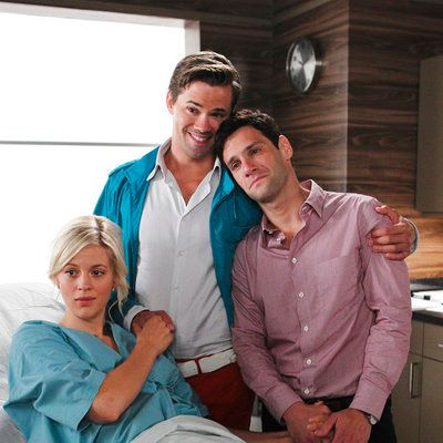 "THE NEW NORMAL -- ""Baby Clothes"" Episode 102 -- Pictured: (l-r) Georgia King as Goldie, Andrew Rannells as Bryan, Justin Bartha as David -- (Photo by: Trae Patton/NBC)"