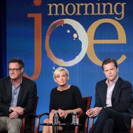 PASADENA, CA - JANUARY 07:  (L-R) Host Joe Scarborough, co-hosts Mika Brzezinski, and Willie Geist speak onstage during the 'Morning Joe' panel during the NBCUniversal portion of the 2012 Winter TCA Tour at The Langham Huntington Hotel and Spa on January 7, 2012 in Pasadena, California.  (Photo by Frederick M. Brown/Getty Images)