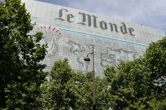 A general view of Le Monde Publishing house's facade is seen on May 5, 2014 in  Paris, France.
