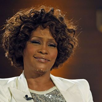 US singer Whitney Houston talks with TV host Thomas Gottschalk (unseen) during the 183rd edition of the TV show presented by
