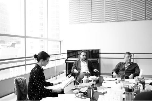 Pictured (l-r) Rachel Weisz, Rafe Spall and Daniel Craig, in rehearsal for Harold Pinter's BETRAYAL, directed by Mike Nichols.   The production opens October 27 at the Barrymore Theatre (243 West 47th Street).  Previews begin October 1.   Tickets go on sale exclusively to American Express? cardholders from June 26-July 11.  General on-sale begins July 12. Visit Telecharge.com for more information.  Photography by Brigitte Lacombe
