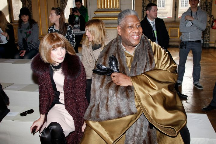 Anna Wintour and André Leon Talley, front row at Stella McCartney.