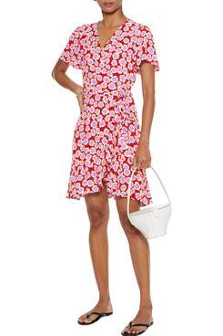 Diane von Furstenberg Estrella Ruffled Floral-Print Crepe Mini Wrap Dress