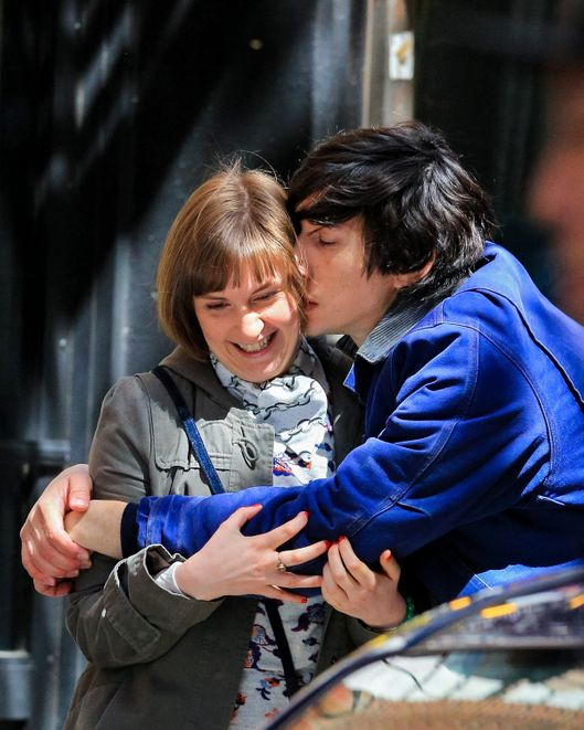 NEW YORK, NY - APRIL 16:  Lena Dunham and Adam Driver are seen filming romantic scene for 'Girls' on April 16, 2014 in New York City.  (Photo by Alessio Botticelli/GC Images)