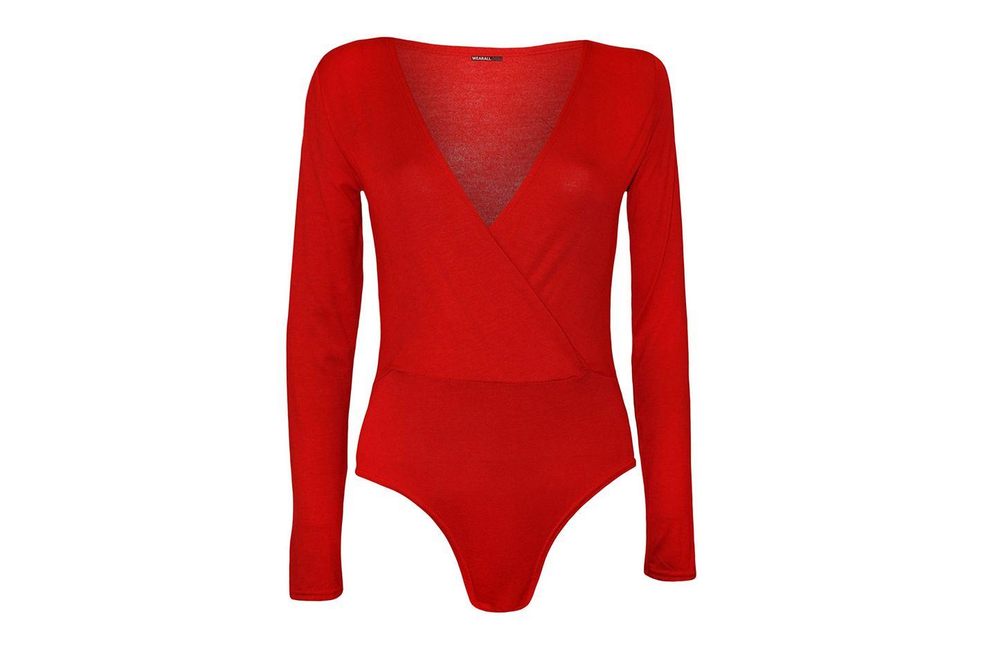 WearAll Plus Size Wrap Long Sleeve Bodysuit
