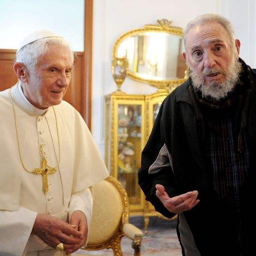 Pope Benedict XVI meets with former Cuban President Fidel Castro (R) at the Vatican embassy on March 29, 2012 in Havana, Cuba. The Pope is finishing up his first trip to Cuba, fourteen years after Pope John Paul II visited the communist country.