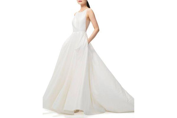 JENNY YOO Ashton Plunge Back A-Line Gown