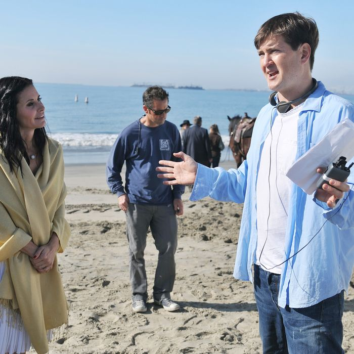 Courtney Cox and Bill Lawrence on the set of Cougartown.
