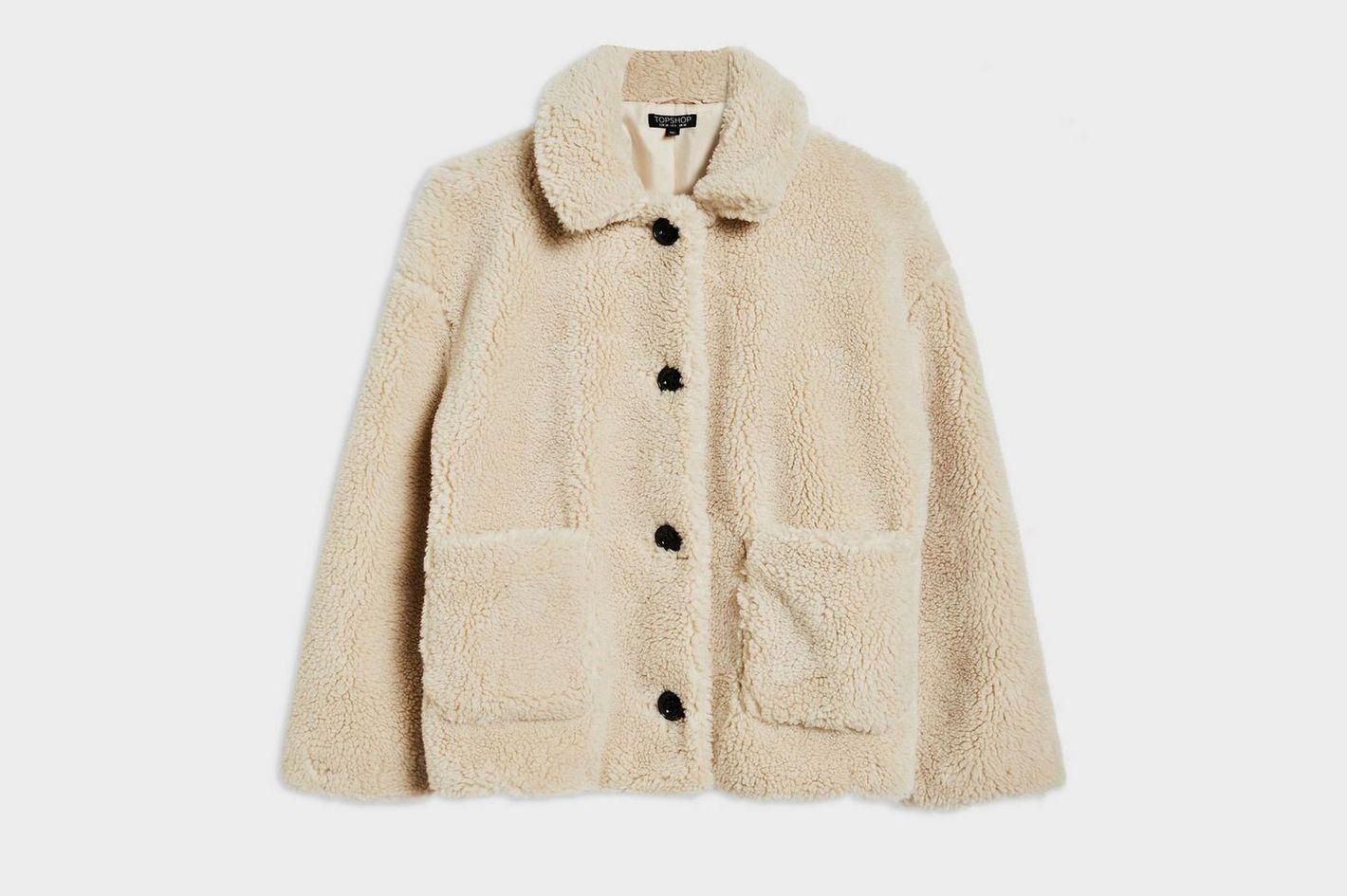 Top Shop Cropped Borg Coat