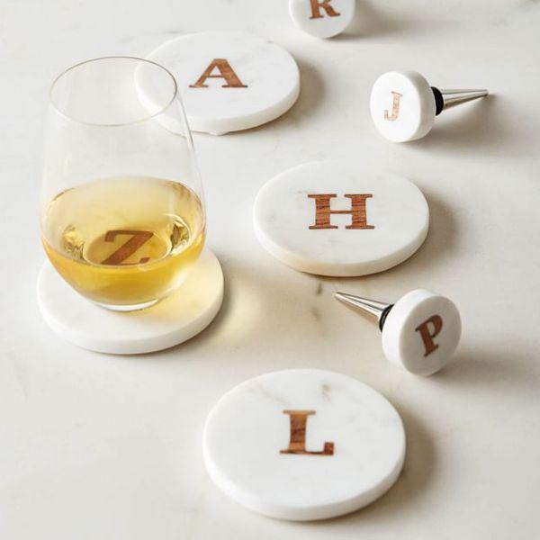 Handmade Alphabet Marble & Wood Coasters — Set of 4
