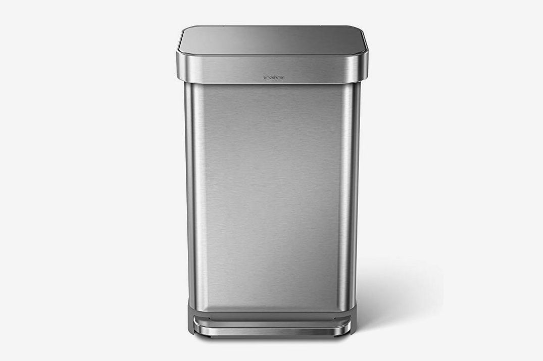 Simplehuman 45 Liter/12 Gallon Stainless Steel Rectangular Kitchen Step Trash Can With Liner Pocket, Brushed Stainless Steel