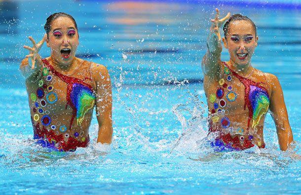 Slideshow Sparkly Synchronized Swim Costumes The Cut