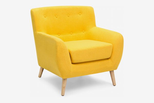 Best Choice Products Linen Tufted Accent Chair, Yellow