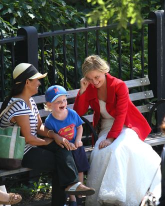 Amy Poehler and Paul Rudd spotted on the set of 'They Came Together' at the Brooklyn Promenade. Amy's son Archie came to visit her mother on the set.