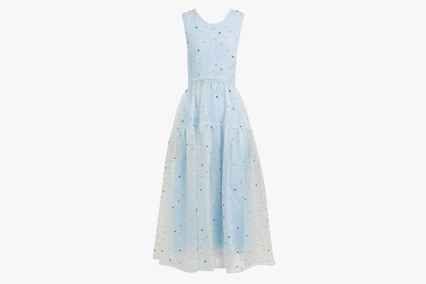 Ruth floral-beaded silk-organza midi dress
