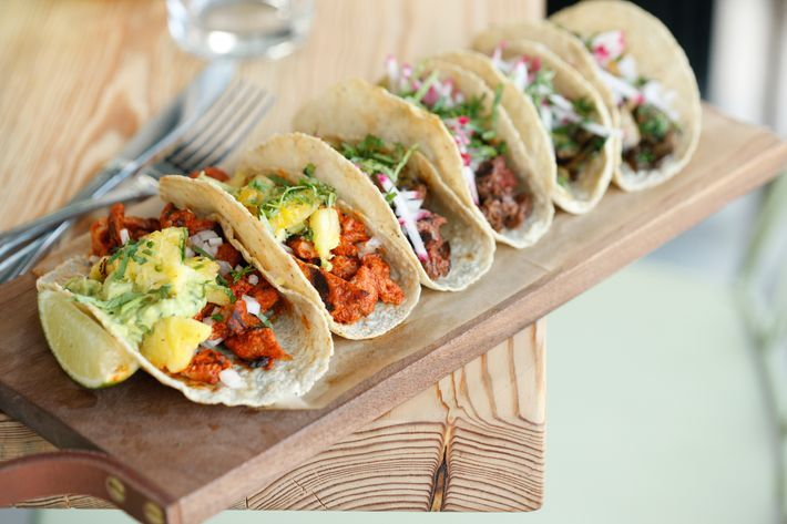 Al pastor tacos, front and center.
