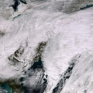 In this handout provided by the National Oceanic and Atmospheric Administration (NOAA) from the Suomi NPP satellite, a major winter storm covers the Atlantic region bringing snow to the Northeast of the U.S. pictured at 18:25 UTC on January 26, 2015.