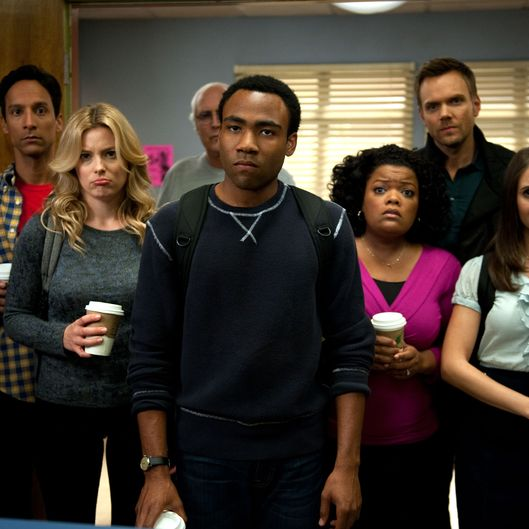 "COMMUNITY -- ""Alternative History of the German Invasion"" Episode 402 -- Pictured: (l-r) Danny Pudi as Abed, Gillian Jacobs as Britta, Chevy Chase as Pierce,  Donald Glover as Troy, Yvette Nicole Brown as Shirley, Joel McHale as Jeff Winger, Alison Brie as Annie"