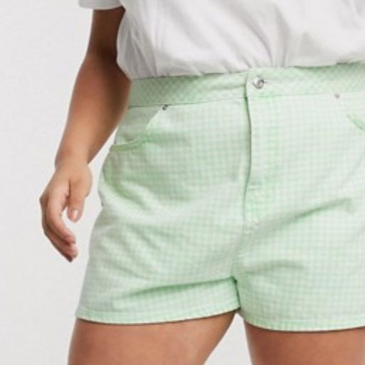 ASOS DESIGN Curve Denim A-Line Short in Gingham